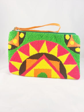Green Punch Needle Tapiz Handmade Wayuu Clutch - Wuitusu