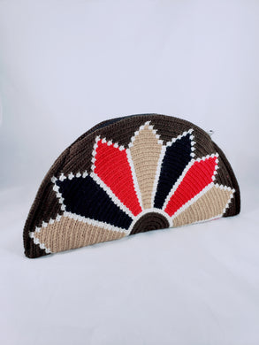 Brown, Black, Cream and Red Handmade Wayuu Crochet Clutch - Wuitusu