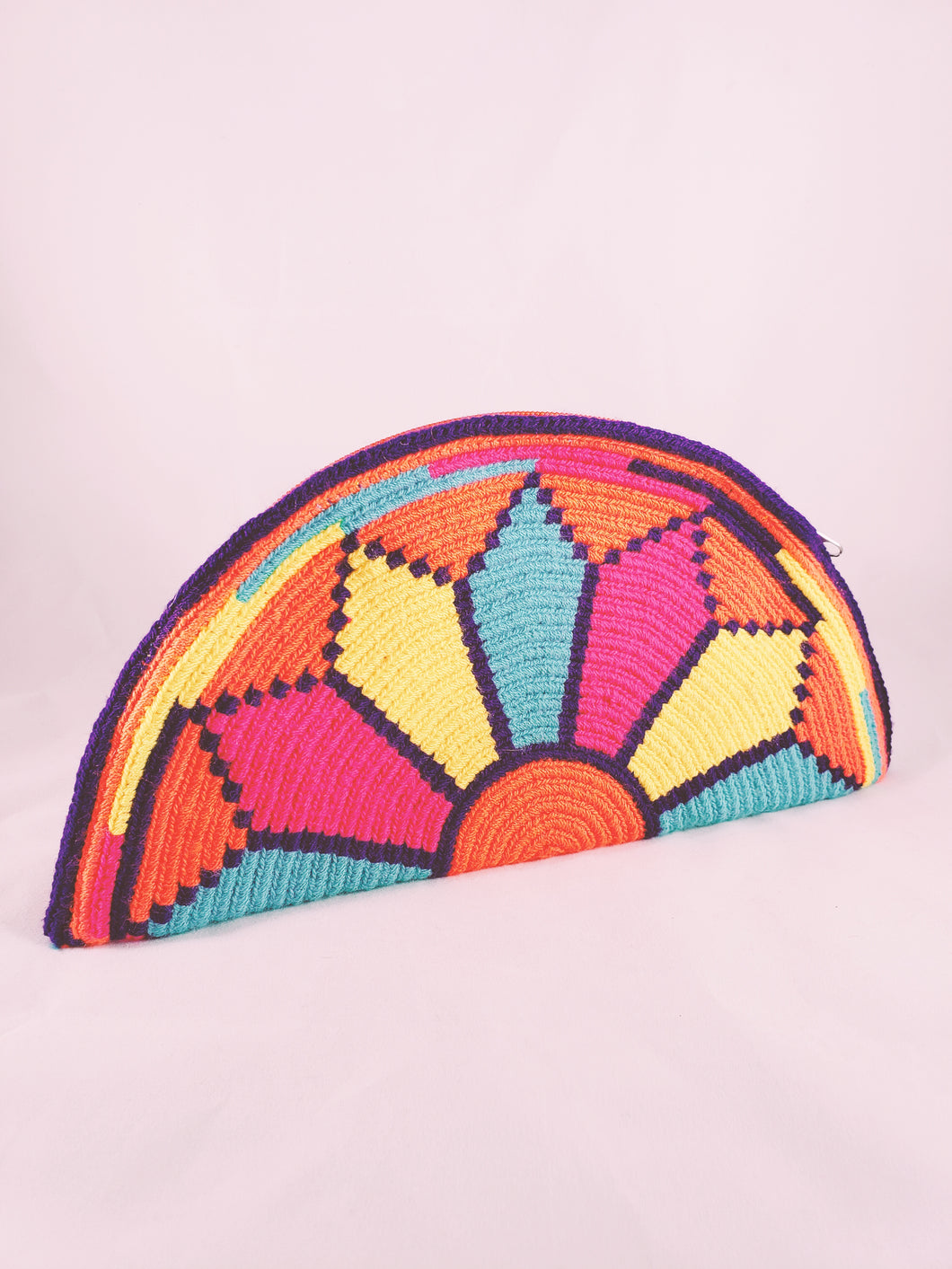 Orange, Pink, Yellow and Blue Handmade Wayuu Crochet Clutch - Wuitusu