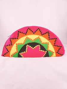 Pink, Yellow, Green, Orange and Black Handmade Wayuu Crochet Clutch - Wuitusu