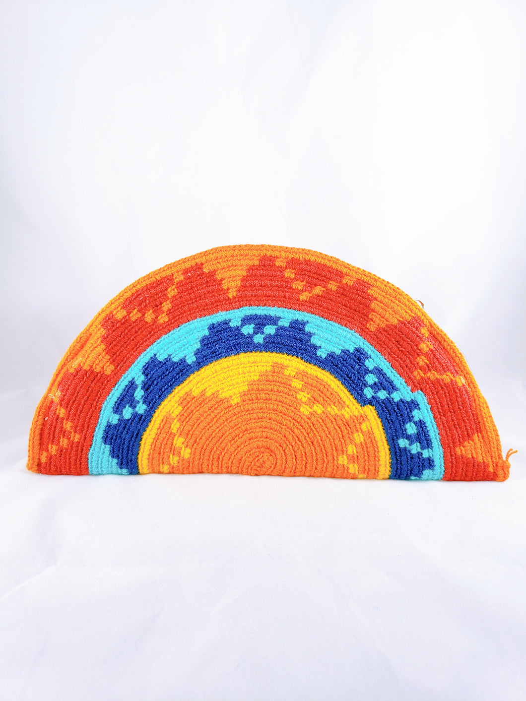 Orange, and Blue Handmade Wayuu Crochet Clutch - Wuitusu