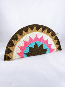 Brown, Pink and Blue Handmade Wayuu Crochet Clutch - Wuitusu