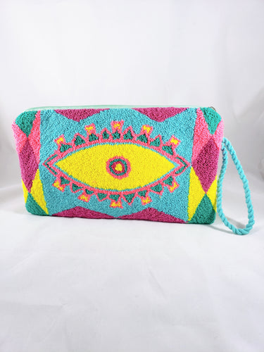 Yellow and Blue Wayuu Evil Eye Clutch - Wuitusu