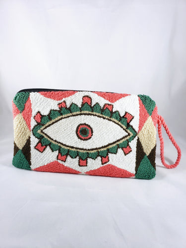 Cream, Green, and Pink Handmade Wayuu Evil Eye Clutch - Wuitusu