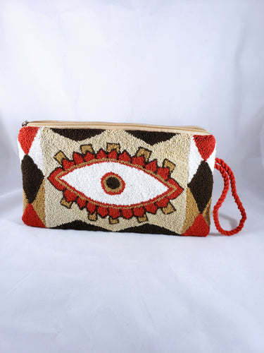 Cream and Read Handmade Wayuu Evil Eye Clutch - Wuitusu