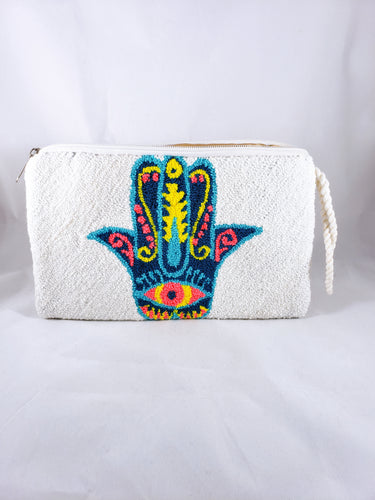 White and Blue Handmade Wayuu Hamsa Clutch - Wuitusu