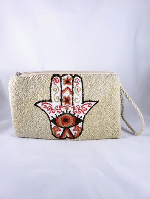 Cream and Rust Handmade Wayuu Hamsa Clutch - Wuitusu
