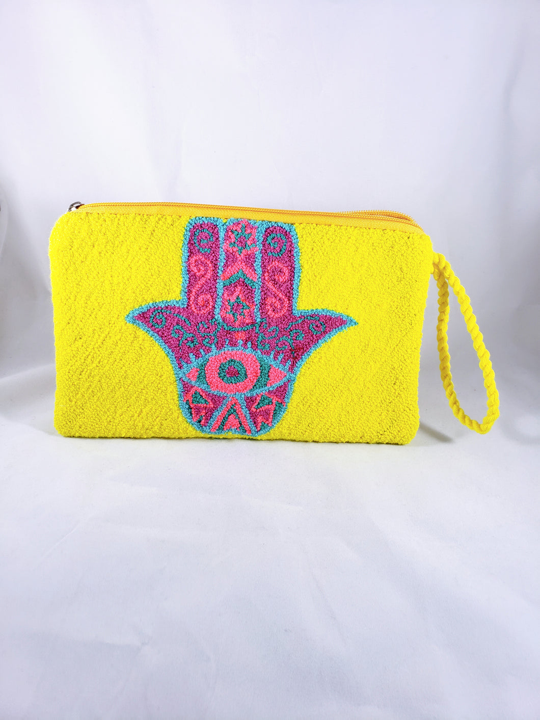 Yellow and Pink Handmade Wayuu Hamsa Clutch - Wuitusu