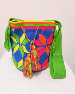 Neon Flowers and Green Strap Handmade Wayuu Mochila Bag - Wuitusu