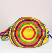 Neon Yellow, Blue, Green, Orange and Pink Handmade Wayuu Mochila Bag - Wuitusu