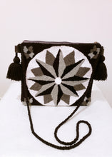 Black, White, and Grey Handmade Wayuu Punch Needle Bag - Wuitusu