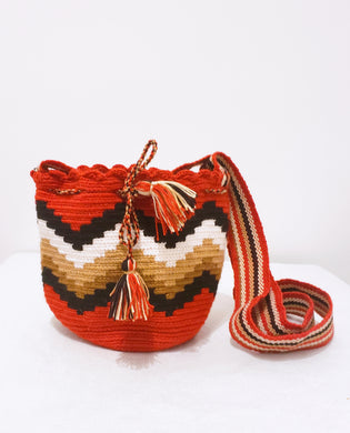 Red, Brown, and Cream Small Handmade Wayuu Mochila Bag - Wuitusu