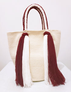 White and Maroon Waterfall Handmade Wayuu Mochila Bag - Wuitusu
