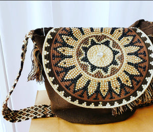 Large Brown Wayuu Mochila Bag with Lid and Crystals - Wuitusu