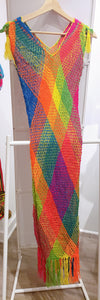 Bright Pink, Orange, Yellow, Orange, Blue and Green Wayuu Cover Up - Wuitusu