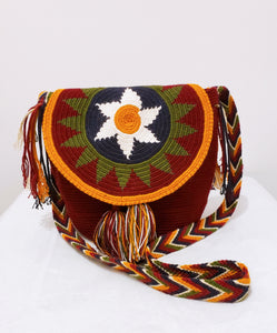 Maroon Medium Handmade Wayuu Mochila Bag with Flap - Wuitusu