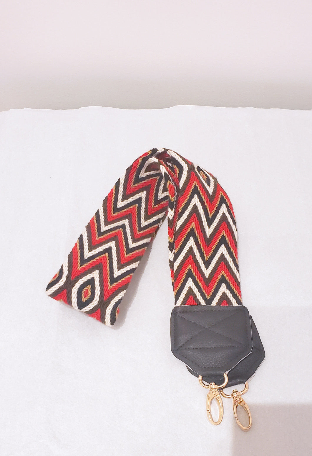 Red, Brown, Black, and Cream Lines Handmade Wayuu Bag Strap - Wuitusu