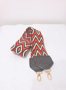 Red, Brown, Black and Cream Eye Wayuu Bag Strap - Wuitusu