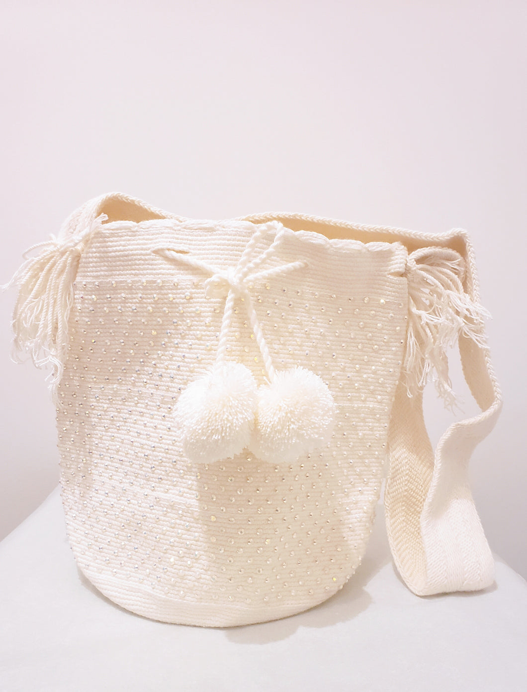 White Pompom Handmade Wayuu Mochila Bag with Crystals - Wuitusu