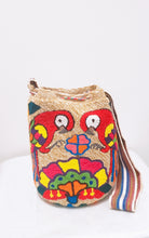 Red Parrots and Pompoms Handmade Punch-Needle Wayuu Mochila Bag - Wuitusu
