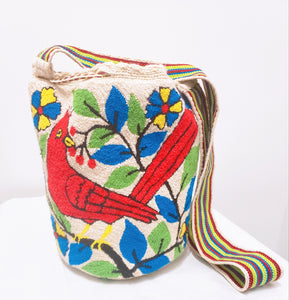 Cardinal and Pompoms Handmade Punch-Needle Wayuu Mochila Bag - Wuitusu
