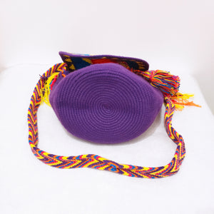 Purple Medium Handmade Wayuu Bag with Flaps - Wuitusu