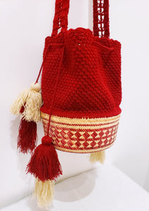 Red Mawisa with Side Ties Wayuu Mochila Bag - Wuitusu