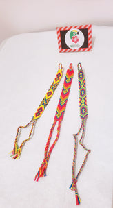 Pack of Three Neon Wayuu Handmade Bracelets - Wuitusu