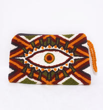 Handmade Punch-needle Maroon Evil Eye Clutch - Wuitusu