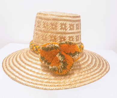 Gold with Multicolor Pompom Handmade Wayuu Hat