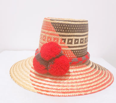 Red and Black with red and grey pompom Handmade Wayuu Hat