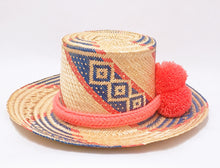 Coral and Blue Handmade Wayuu Hat - Wuitusu