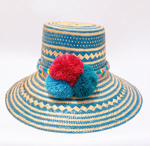 Blue with Multicolor Pompoms Handmade Wayuu Hat - Wuitusu