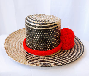Brigitte Black and Red Handmade Wayuu hat - Wuitusu