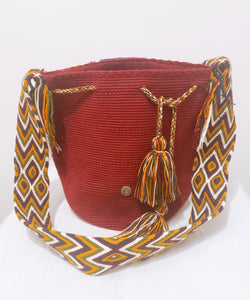 Large Maroon Handmade Crochet Wayuu Bag with Flap - Wuitusu