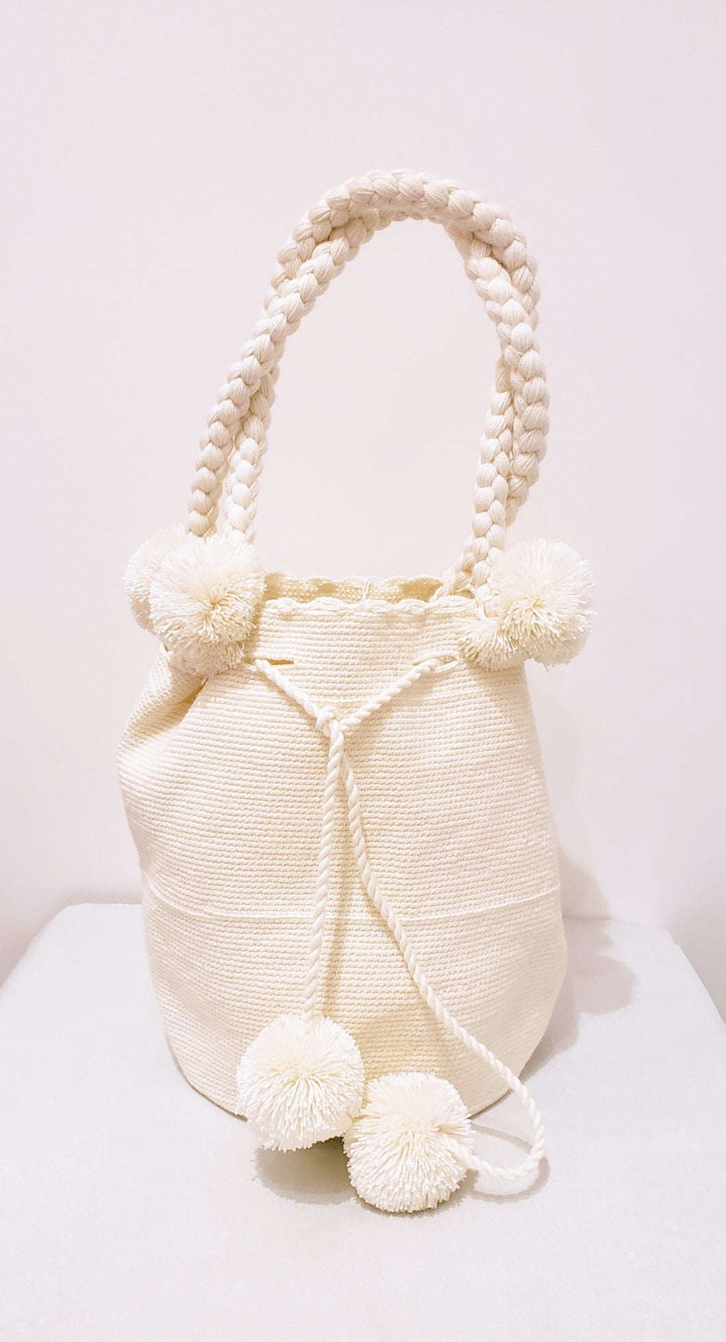 White Short Handle Handmade Crochet Wayuu Bag - Wuitusu