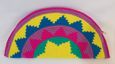 Blue Yellow Pink Semi Circle Clutch - Wuitusu