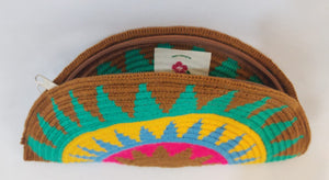 Green Brown Yellow Semi Circle Clutch - Wuitusu