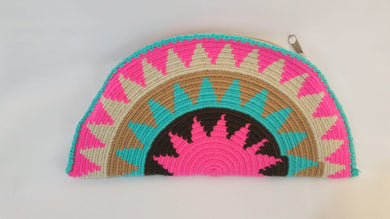 Pink and Blue Semi Circle Clutch - Wuitusu