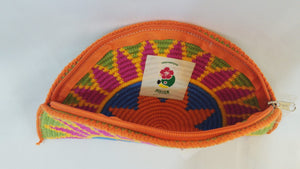 Green and Pink Semi Circle Clutch - Wuitusu