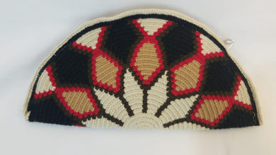 Brown and Red Semi Circle Clutch - Wuitusu