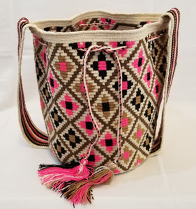 White Pink Black and Brown Design Handmade Wayuu Mochila Paleteada Bag - Wuitusu