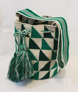 Green-White Triangular Design Handmade Wayuu Mochila Paleteada Bag - Free USA Shipping - Wuitusu