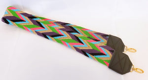 Pink, Purple, Blue, Green and Brown Handmade Wayuu Bag Strap - Wuitusu