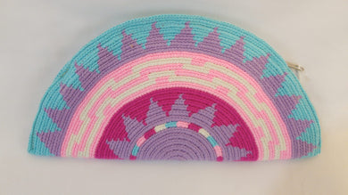 Turquoise and Pink Semi Circle Clutch - Wuitusu