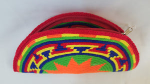 Red Orange and Yellow Semi Circle Clutch - Wuitusu