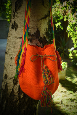 Orange Handmade Wayuu Mochila Bag - Wuitusu
