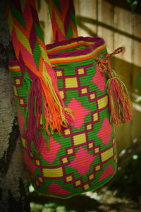 Pink Green and Yellow Handmade Wayuu Mochila B - Wuitusu