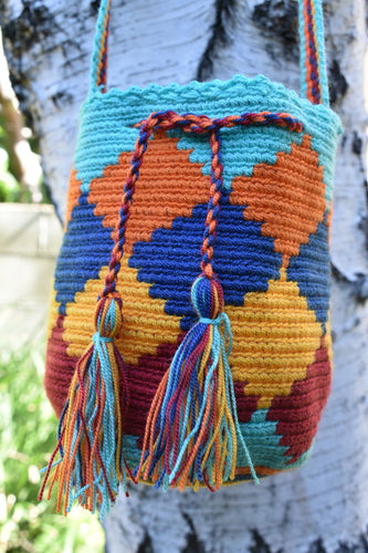 Small Blue, Orange, Yellow, and Red Argyle Pattern Wayuu Mochila Bag - Wuitusu