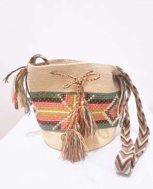 Sophia Handmade Medium Wayuu Bag with Crystals - Wuitusu
